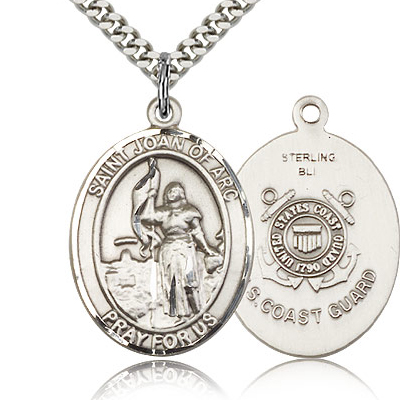 Sterling Silver 1in St Joan of Arc Coast Guard Medal & 24in Chain