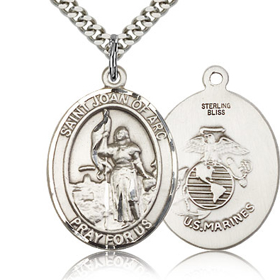 Sterling Silver 1in St Joan of Arc Marines Medal & 24in Chain