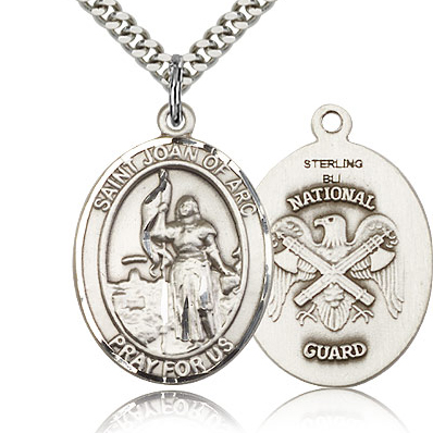 Sterling Silver 1in St Joan of Arc National Guard Medal & 24in Chain