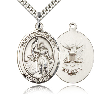 Sterling Silver 1in St Joan of Arc Navy Medal & 24in Chain