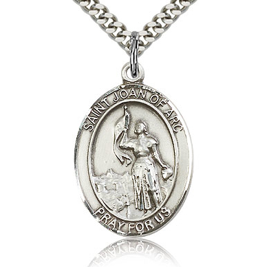 Sterling Silver 1in St Joan of Arc Medal & 24in Chain