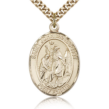 Gold Filled 1in St John the Baptist Medal & 24in Chain