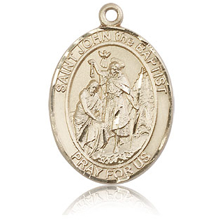 14kt Yellow Gold 1in St John the Baptist Medal