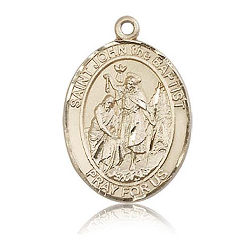 14kt Yellow Gold 1in St John the Baptist Medal