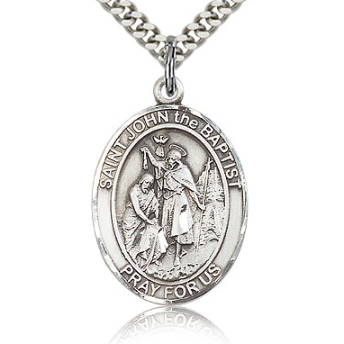 Sterling Silver 1in St John the Baptist Medal & 24in Chain