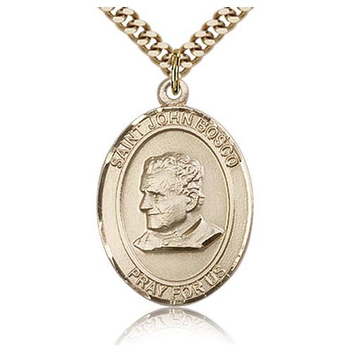 Gold Filled 1in St John Bosco Medal & 24in Chain