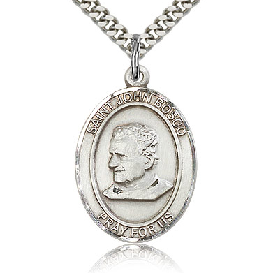Sterling Silver 1in St John Bosco Medal & 24in Chain