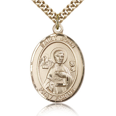 Gold Filled 1in St John the Apostle Medal & 24in Chain
