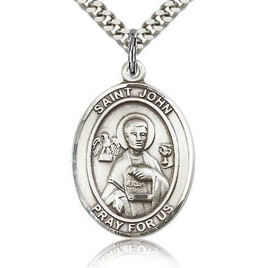 Sterling Silver 1in St John the Apostle Medal & 24in Chain