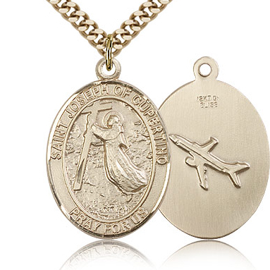 Gold Filled 1in St Joseph of Cupertino Medal & 24in Chain