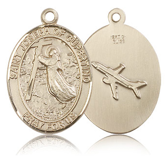 14kt Yellow Gold 1in St Joseph of Cupertino Medal