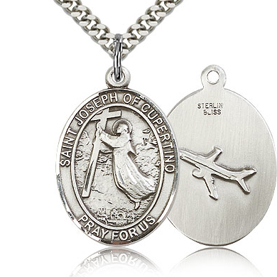 Sterling Silver 1in St Joseph of Cupertino Medal & 24in Chain