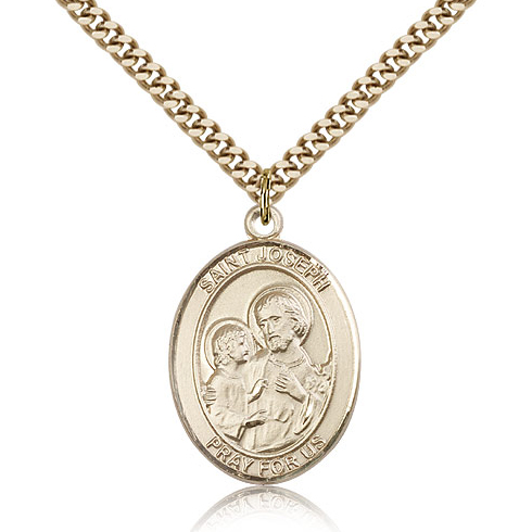Gold Filled 1in St Joseph Medal & 24in Chain