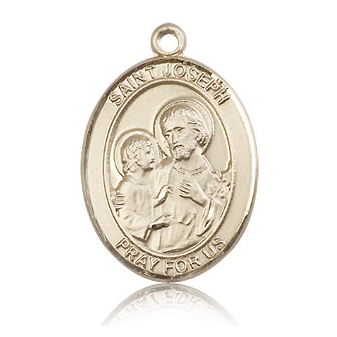14kt Yellow Gold 1in St Joseph Medal