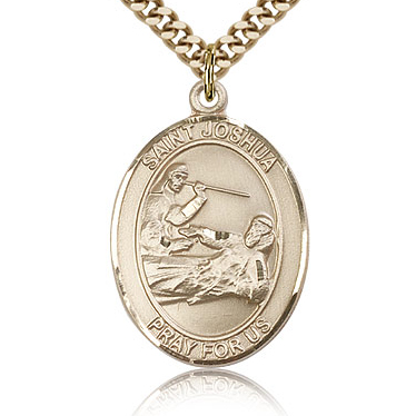 Gold Filled 1in St Joshua Medal & 24in Chain