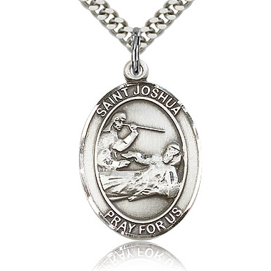 Sterling Silver 1in St Joshua Medal & 24in Chain