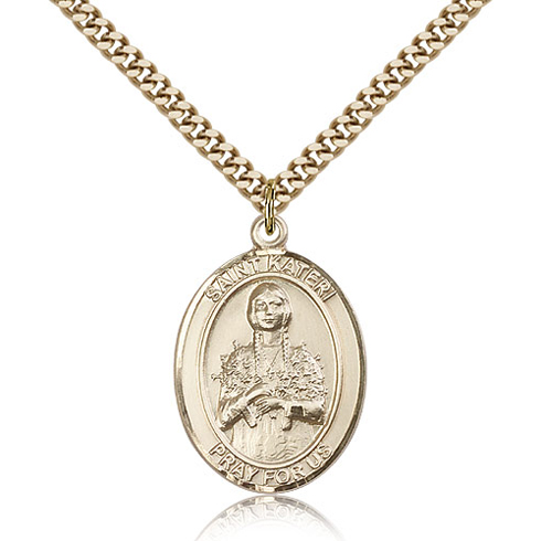 Gold Filled 1in St Kateri Medal & 24in Chain