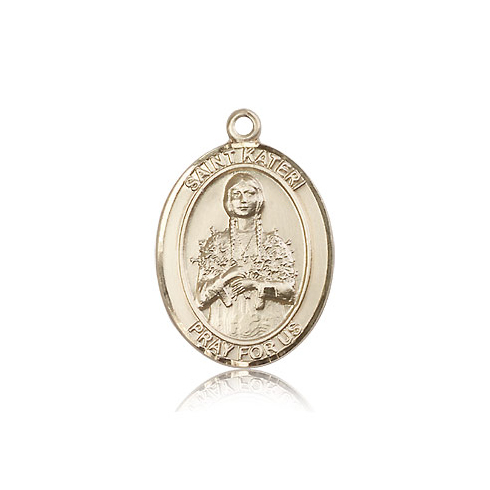 14kt Yellow Gold 1in St Kateri Medal