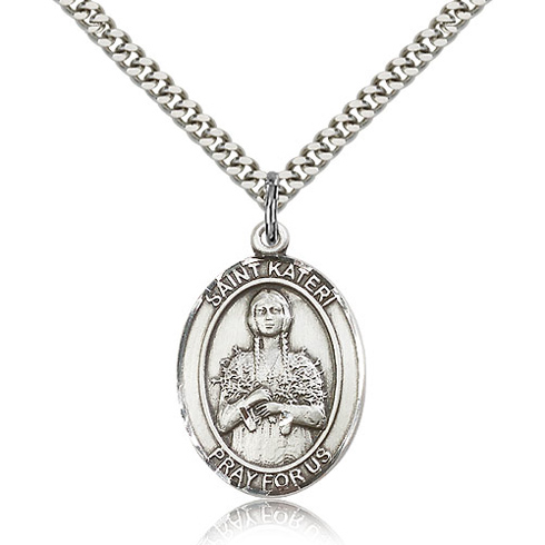 Sterling Silver 1in St Kateri Medal & 24in Chain