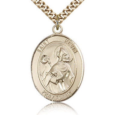 Gold Filled 1in St Kevin Medal & 24in Chain