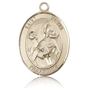 14kt Yellow Gold 1in St Kevin Medal