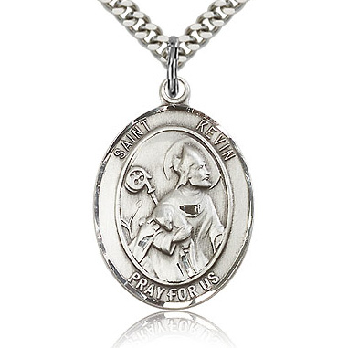 Sterling Silver 1in St Kevin Medal & 24in Chain
