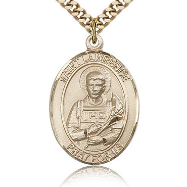 Gold Filled 1in St Lawrence Medal & 24in Chain