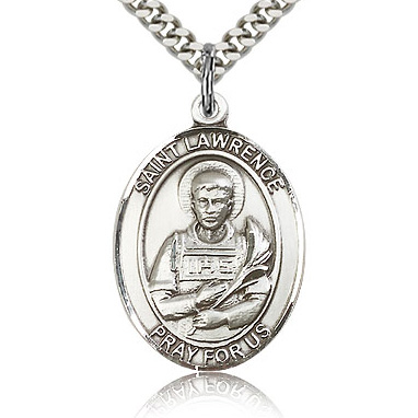 Sterling Silver 1in St Lawrence Medal & 24in Chain