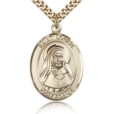 Gold Filled 1in St Louise de Marillac Medal & 24in Chain