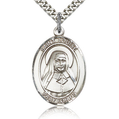 Sterling Silver 1in St Louise de Marillac Medal & 24in Chain