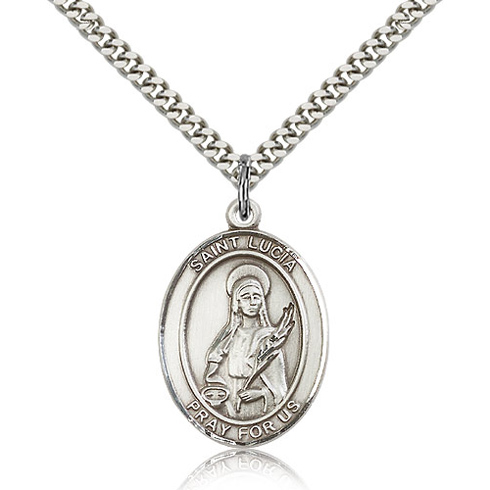 Sterling Silver 1in St Lucia Medal & 24in Chain