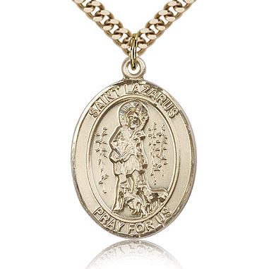 Gold Filled 1in St Lazarus Medal & 24in Chain
