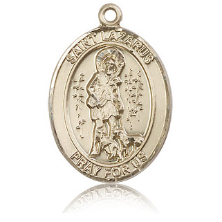 14kt Yellow Gold 1in St Lazarus Medal