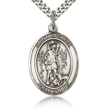 Sterling Silver 1in St Lazarus Medal & 24in Chain