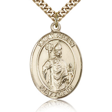 Gold Filled 1in St Kilian Medal & 24in Chain