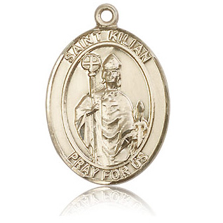 14kt Yellow Gold 1in St Kilian Medal