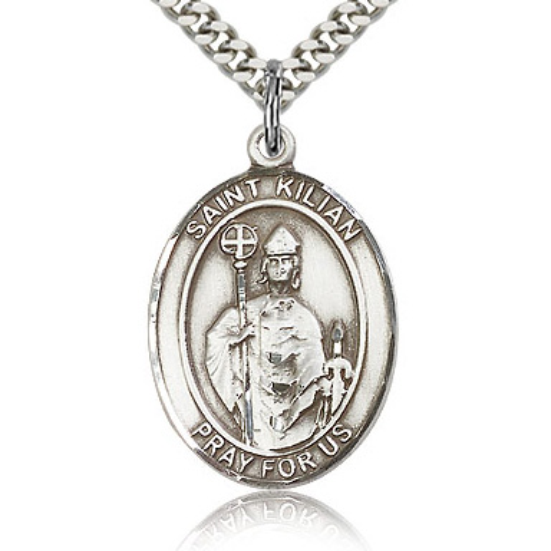 Sterling Silver 1in St Kilian Medal & 24in Chain
