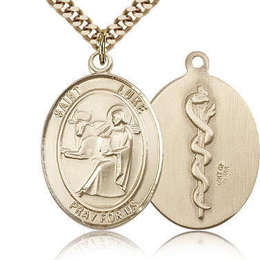Gold Filled 1in St Luke the Apostle & Doctor Medal & 24in Chain