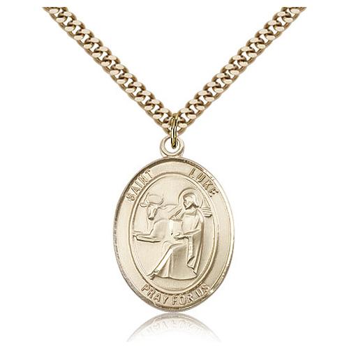 Gold Filled 1in St Luke Medal & 24in Chain