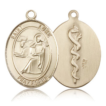 14kt Yellow Gold 1in St Luke the Apostle & Doctor Medal