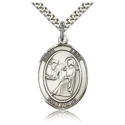 Sterling Silver 1in St Luke Medal & 24in Chain