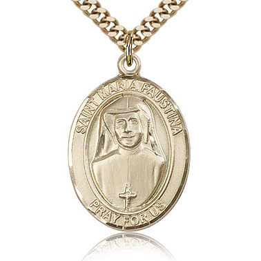 Gold Filled 1in St Maria Faustina Medal & 24in Chain