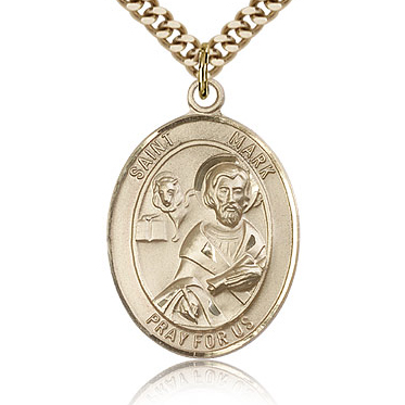 Gold Filled 1in St Mark Medal & 24in Chain