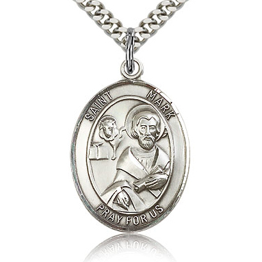 Sterling Silver 1in St Mark Medal & 24in Chain
