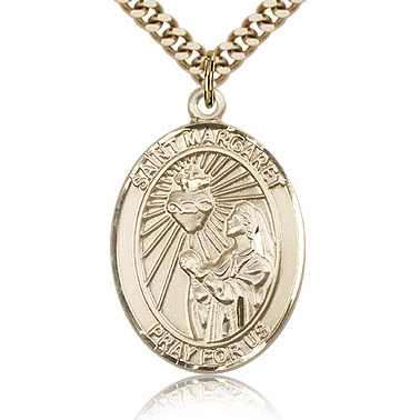 Gold Filled 1in St Margaret Mary Alacoque Medal & 24in Chain