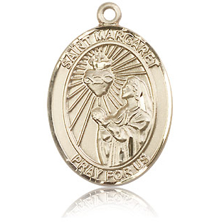14kt Yellow Gold 1in St Margaret Mary Alacoque Medal