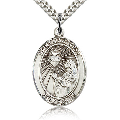 Sterling Silver 1in St Margaret Mary Alacoque Medal & 24in Chain