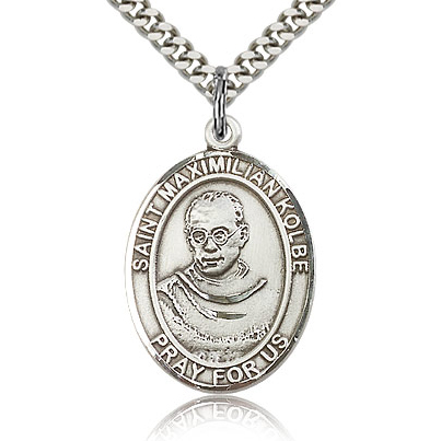 Sterling Silver 1in St Maximilian Kolbe Medal & 24in Chain
