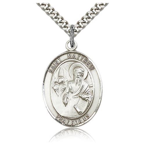 Sterling Silver 1in St Matthew Medal & 24in Chain