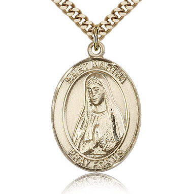 Gold Filled 1in St Martha Medal & 24in Chain